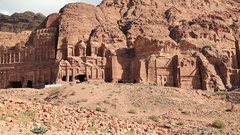 Overall view of Royal Tombs, ancient Rose City of Petra, Jordan Stock Footage