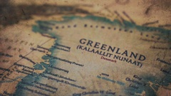 Greenland Old Vintage Paper Map Stock Footage