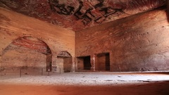 Interior chamber of Urn Tomb of Royal Tombs, ancient Rose City of Petra, Jordan Stock Footage