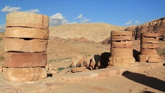 Ancient columns of Great Temple or Temple of Winged Lions in Petra, Jordan Arkistovideo