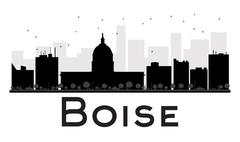 Boise City skyline black and white silhouette. Piirros