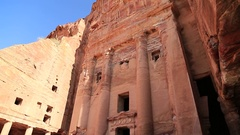 Facade of Urn Tomb of Royal Tombs, ancient city of Petra in Jordan Stock Footage