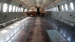 Interior of aircraft without passenger seats Stock Footage