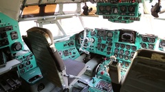 Inside old aircraft cabin Stock Footage