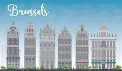 Brussels skyline with Ornate buildings of Grand Place Stock Illustration