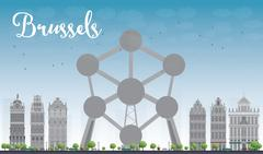 Brussels skyline with Atomium in the center Stock Illustration