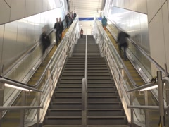 Time lapse. Escalator and stairs to the station. Stock Footage