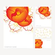 Set of business and invitation card templates with floral ornament Stock Illustration