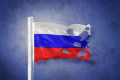 Torn flag of RUSSIA flying against grunge background Stock Illustration