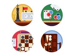 Board games set of icons Stock Illustration