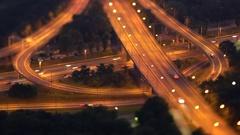 Brigittenauer Bridge A22 Junction at night time lapse tilt-shift effect Stock Footage