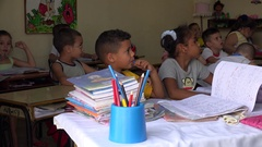 Lesson elementary grades in the Cuban school. Remedios, Villa Clara Stock Footage