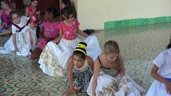 Latin Dance lessons for Cuban girls in Casa musica. Remedios, Villa Cla Stock Footage