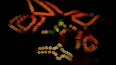 Circus Show: Led Light Clown on Stilts Dancing on a Night Street. Stock Footage