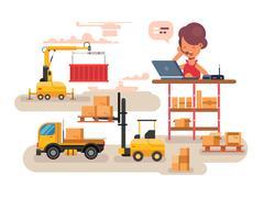 Warehouse logistics concept design Stock Illustration