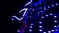 A Robot Clown in an Illuminating Costume. Stock Footage