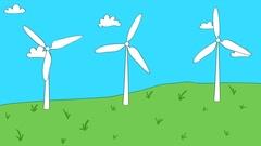Lopping animation of cartoon style wind turbines Stock Footage