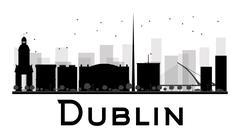 Dublin City skyline black and white silhouette. Stock Illustration