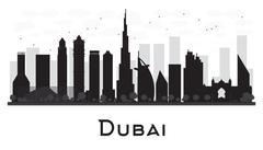 Dubai City skyline black and white silhouette. Piirros