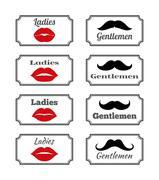 Ladies and gentlemen bathroom symbols. Vector lips  mustach Stock Illustration