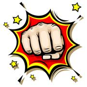 Punching hand with clenched fist vector illustration Stock Illustration