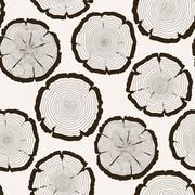 Vector tree rings cut trunk seamless pattern Stock Illustration