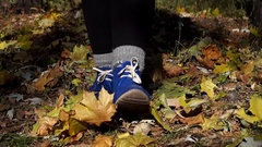 Woman`s Blue Boots Shuffling in Autumn Forest. Stock Footage