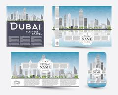 Corporate Identity templates set with Dubai skyline Piirros