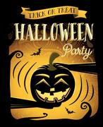 Halloween party. Happy Halloween poster with laugh pumpkin Stock Illustration