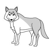 Wolf cartoon icon Stock Illustration