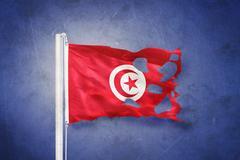 Torn flag of Tunisia flying against grunge background Stock Illustration