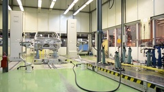 Car shell at laboratory for accurate measurement of factory AutoVAZ Stock Footage