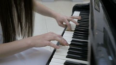 Pianist playing music. Piano keyboard close up Stock Footage