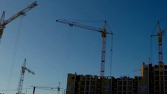 Panoramic photography, the construction of a residential building tower cranes,  Stock Footage