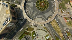 Drone shot of a roundabout in Shanghai, China, flat Stock Footage