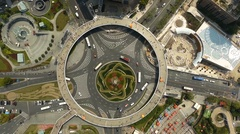 Drone shot of a roundabout in Shanghai, China, around Stock Footage