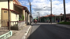 Types of Pinar del Rio. Traffic at the Maximo Gomez street with the Trailer bus Stock Footage