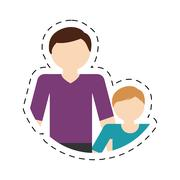 Family father child son togetherness cut line Stock Illustration