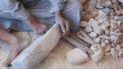 Close up of handcraft production of stone goods Stock Footage