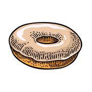 Donut. Vector black hand drawn vintage engraving Stock Illustration