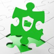 Business concept: Folder With Shield on puzzle background Stock Illustration