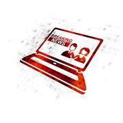 News concept: Breaking News On Laptop on Digital background Stock Illustration