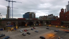 Drone shot an parking spot in Manchester, England Stock Footage