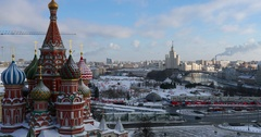 Aerial view of Moscow Saint Basil's Cathedral in Red Square in winter Stock Footage