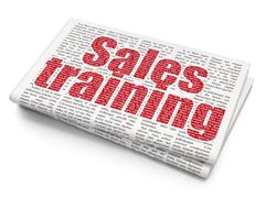 Advertising concept: Sales Training on Newspaper background Piirros