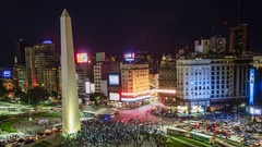 Time lapse of people gathering to protest on Avenida 9 de Julio, in Buenos Aires Stock Footage