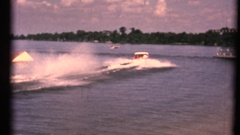Vintage 8mm home movies, Busch Gardens 1960's water skiing Stock Footage