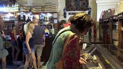 Tourists in the Cuban cigar store (Casa del Tabaco). Havana, Cuba Stock Footage