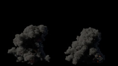 2 realistic fire blasts explosions with smoke in slow motion with alpha channel Stock Footage