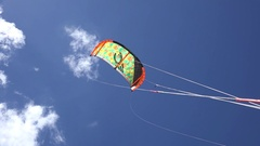 Kite sail in a blue sky. Santa Maria island, Cuba Stock Footage